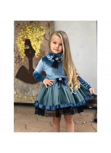 Quzucuk Kids Kız Çocuk Dantelli Mavi Kadife Takım Renkli